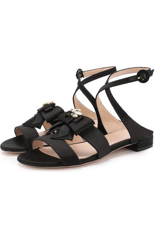Купить Атласные сандалии с бантом Stuart Weitzman, XL20511, Испания, Черный, Подошва-кожа: 100%; Текстиль: 100%; Подкладка-кожа: 100%;