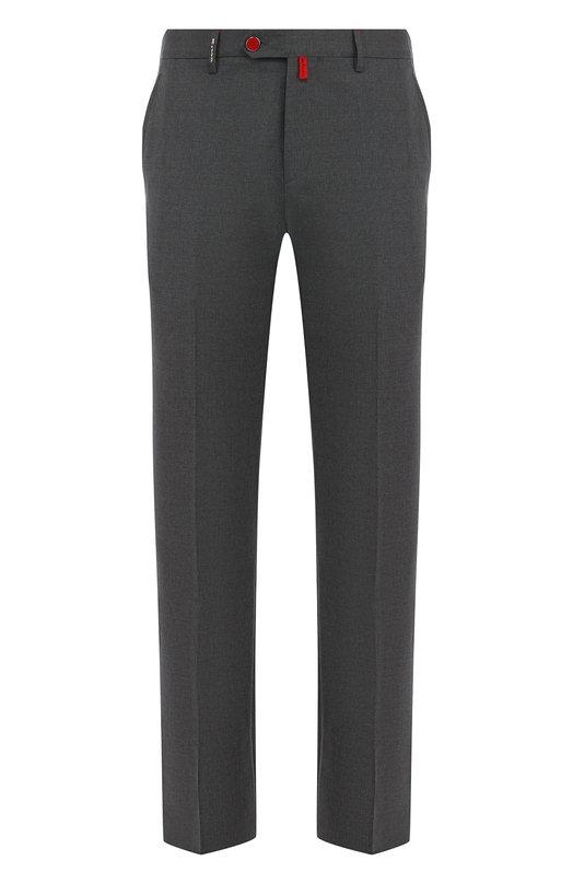 Купить Шерстяные брюки прямого кроя Kiton, UFPP79J06P68, Италия, Серый, Шерсть: 100%;