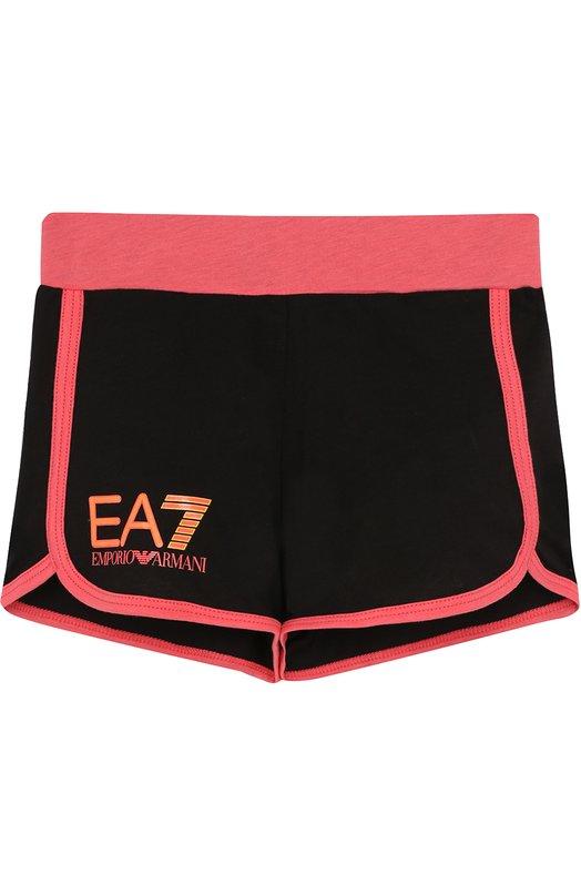 Купить Хлопковые шорты с контрастной отделкой Ea 7, 3ZFS51/FJ22Z, Перу, Черный, Хлопок: 100%;