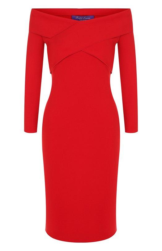 Приталенное платье с открытыми плечами Ralph Lauren, 290713967, Италия, Красный, Полиамид: 84%; Эластан: 16%;  - купить