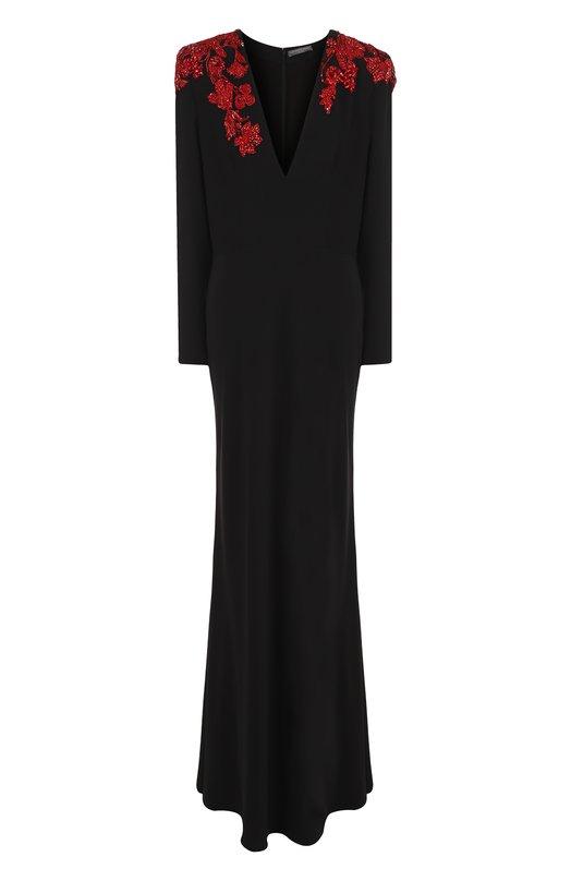 Купить Однотонное платье-макси с V-образным вырезом и декорированной отделкой Alexander McQueen, 496938/QKE40, Италия, Черный, Вискоза: 52%; Ацетат: 48%; Подкладка-шелк: 100%;