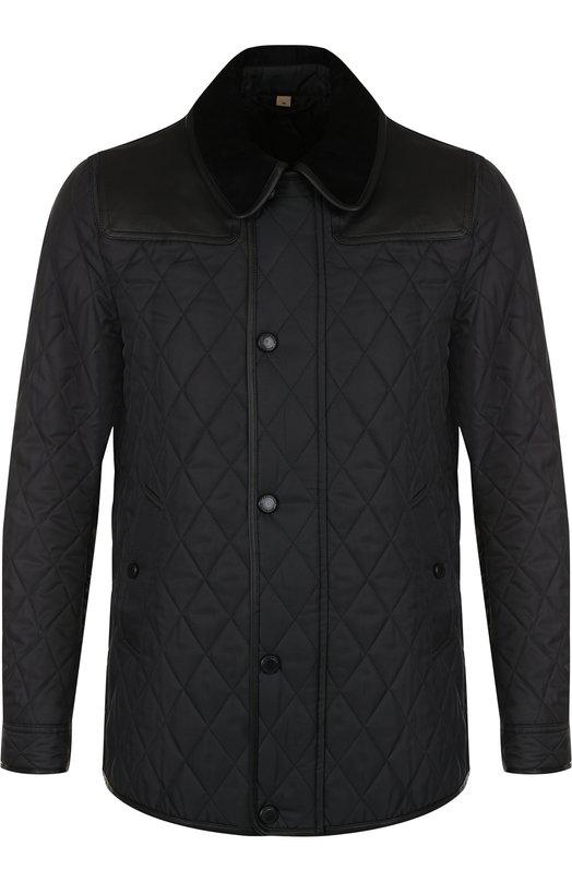 Купить Стеганая куртка на молнии с отложным воротником Burberry, 4068936, Румыния, Черный, Полиамид: 55%; Подкладка-вискоза: 50%; Подкладка-ацетат: 50%; Полиэстер: 45%; Отделка-кожа: 100%;