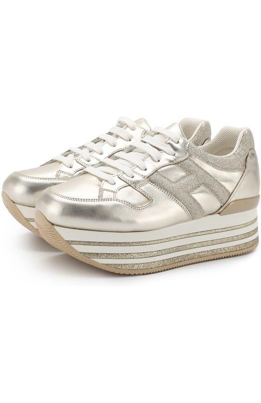 Купить Кросcовки из металлизированной кожи на шнуровке Hogan, GYW3680T548J4D4341, Сербия, Золотой, Подошва-резина: 100%; Подкладка-кожа: 100%; Кожа: 100%;