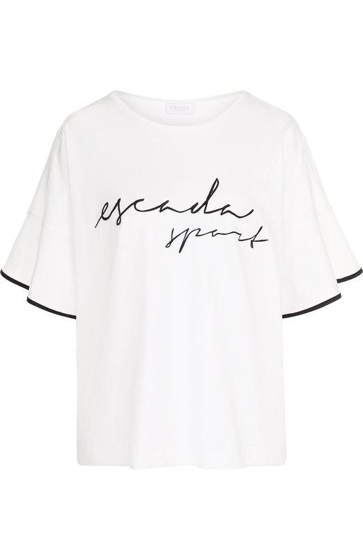 Купить Хлопковая футболка с надписью и контрастной отделкой на рукаве Escada Sport, 5026924, Болгария, Белый, Хлопок: 100%;