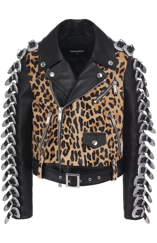 Купить Кожаная куртка с косой молнией и декорированной отделкой Dsquared2, S72AM0634/SY1073, Румыния, Черный, Подкладка-вискоза: 65%; Подкладка-полиэстер: 35%; Кожа натуральная: 100%; Шкура коровы: 100%;