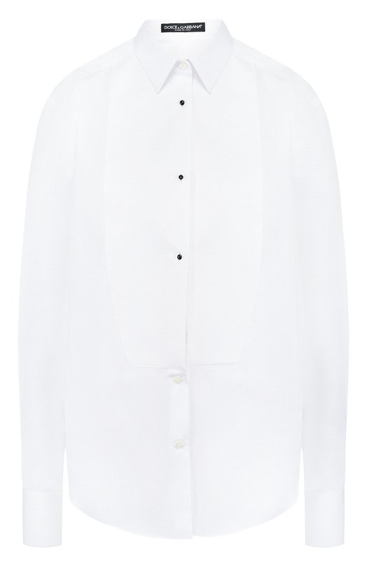 Купить Приталенная хлопковая блуза с контрастными пуговицами Dolce & Gabbana, F5J21T/FU5GK, Италия, Белый, Хлопок: 100%;