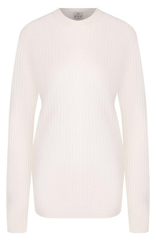 Однотонный кашемировый пуловер фактурной вязки FTC
