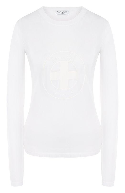 Купить Однотонный топ с круглым вырезом и логотипом бренда Vionnet, ML VMS18 017 F5035, Италия, Белый, Вискоза: 88%; Полиэстер: 12%;