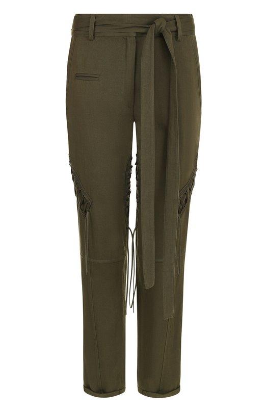 Укороченные брюки из смеси хлопка и льна с поясом Saint Laurent