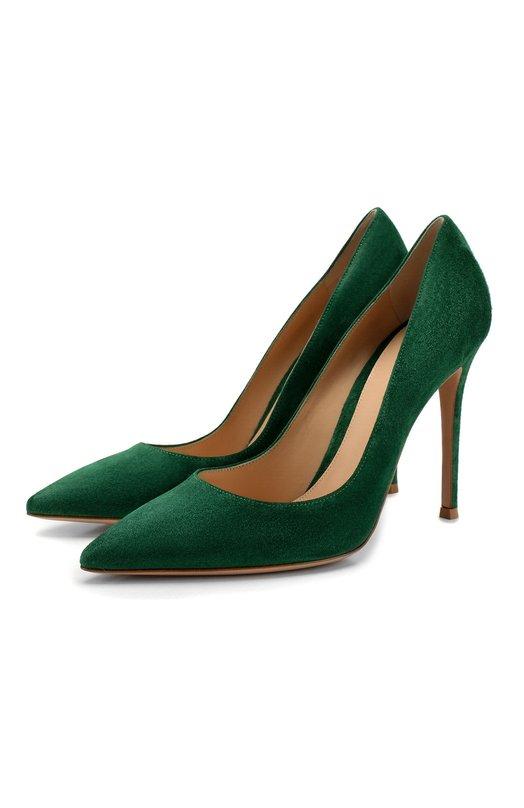 Купить Замшевые туфли Gianvito 105 на шпильке Gianvito Rossi, G28470.15RIC.CAMLEAF, Италия, Зеленый, кожа: 100%; Подошва-кожа: 100%; Подкладка-кожа: 100%; Кожа: 100%;