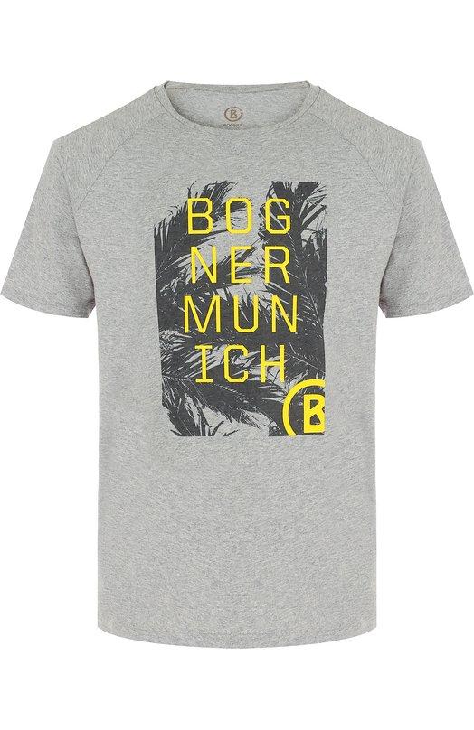 Купить Хлопковая футболка с принтом Bogner, 51411503, Португалия, Серый, Хлопок: 100%;