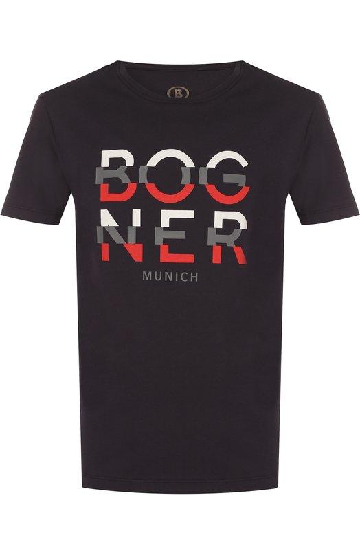 Купить Хлопковая футболка с принтом Bogner, 5132M403, Португалия, Темно-синий, Хлопок: 100%;