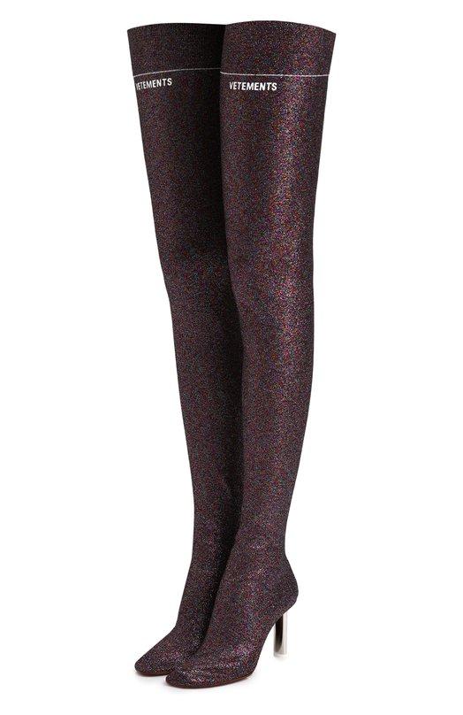 Текстильные ботфорты на контрастном каблуке Vetements