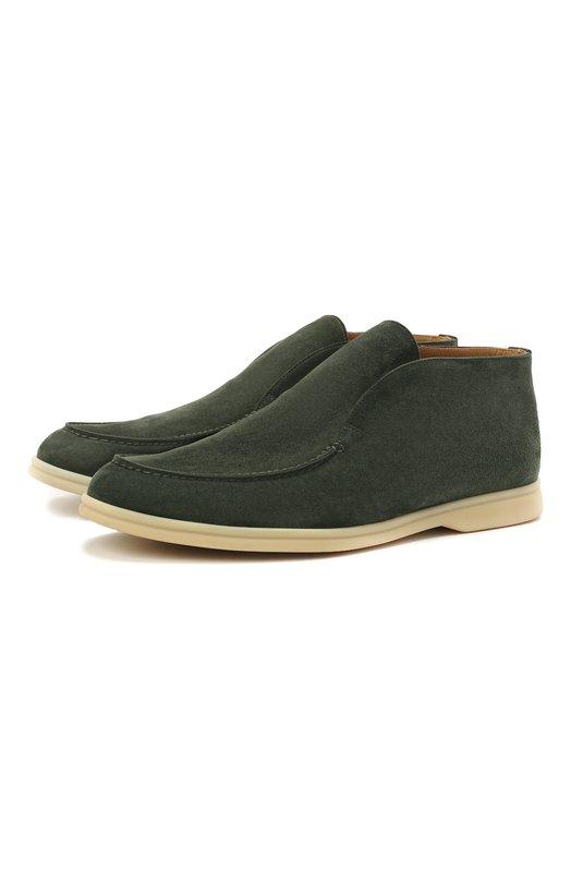 Купить Замшевые ботинки Open Walk без шнуровки Loro Piana, FAB4368, Италия, Зеленый, Стелька-Кожа: 100%; Подошва-Резина: 100%; Замша натуральная: 100%; Подкладка-Кожа: 100%; Кожа: 100%; Низ-Кожа: 100%;