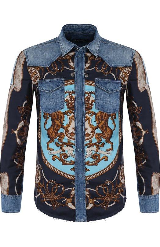 Купить Хлопковая рубашка на кнопках с шелковой вставкой Dolce & Gabbana, G5EX7D/G8W46, Италия, Синий, Хлопок: 60%; Шелк: 40%;