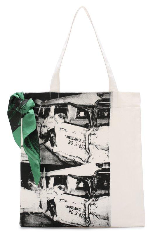 Купить Хлопковая сумка-шоппер с принтом CALVIN KLEIN 205W39NYC, 82WLBA60/C179, Италия, Черно-белый, Текстиль: 100%;