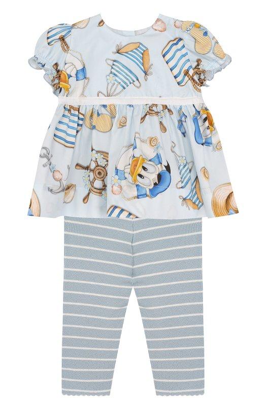 Купить Хлопковый комплект из блузы и леггинсов Monnalisa, 311502, Италия, Голубой, Хлопок: 100%;