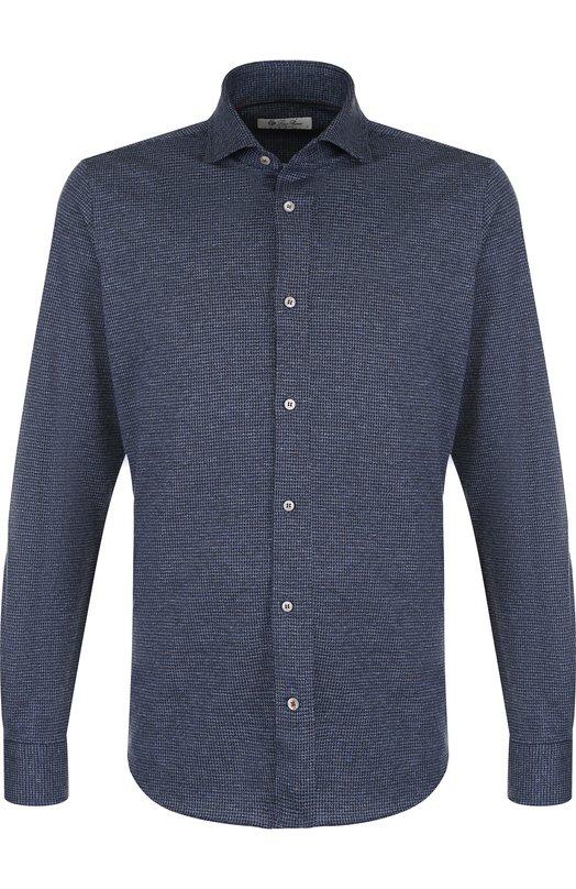 Купить Рубашка из смеси шерсти и хлопка Loro Piana, FAI2431, Италия, Темно-синий, Шерсть: 52%; Хлопок: 48%;