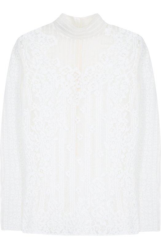Купить Кружевная блуза с воротником-стойкой и длинным рукавом Valentino, PB3AE2I5/2UP, Италия, Белый, Отделка-хлопок: 78%; Отделка-полиамид: 5%; Вискоза: 38%; Хлопок: 34%; Полиамид: 28%; Отделка-вискоза: 17%; Подкладка-полиамид: 100%; Отделка