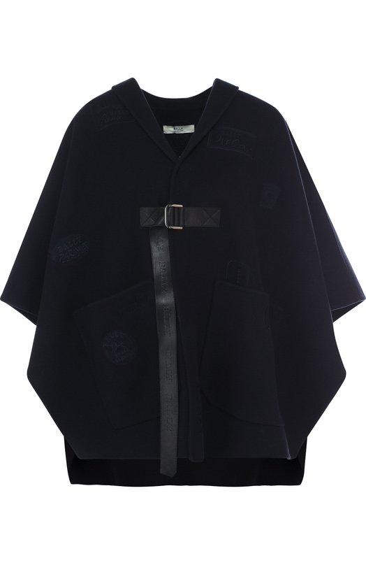 Однотонное шерстяное пончо с накладными карманами Bally