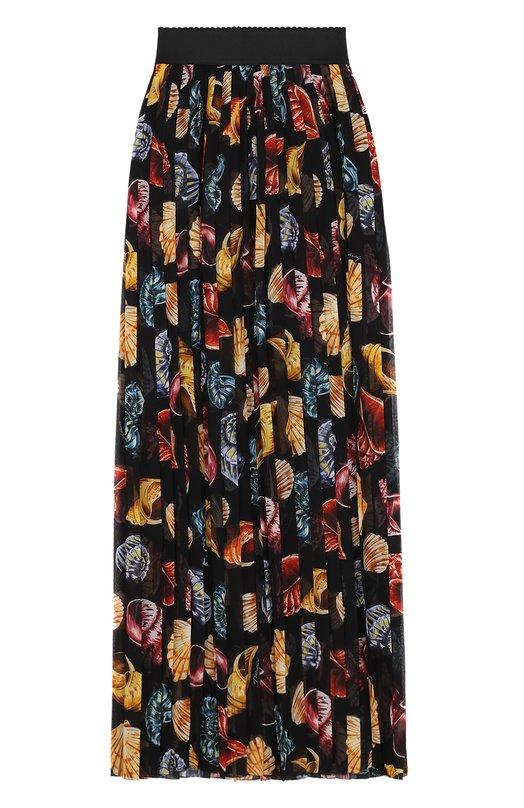 Купить Плиссированная шелковая юбка с принтом и эластичным поясом Dolce & Gabbana, F4A9NT/HS1S8, Италия, Черный, Шелк: 100%;