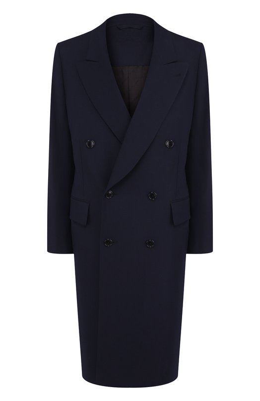 Купить Однотонное двубортное пальто из шерсти Vetements, WSS18JA5, Италия, Темно-синий, Шерсть: 100%; Подкладка-вискоза: 100%;