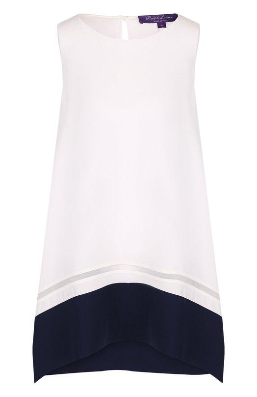 Купить Шелковый топ свободного кроя с контрастной отделкой Ralph Lauren, 290713993, Италия, Белый, Шелк: 100%;