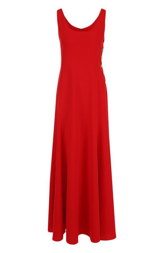 Купить Однотонное платье-макси с круглым вырезом и контрастными пуговицами Ralph Lauren, 290713995, США, Красный, Полиэстер: 100%;