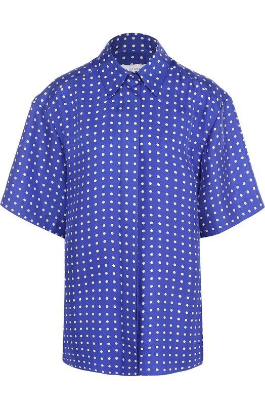 Купить Шелковая блуза с укороченным рукавом и принтом Walk of Shame, SH012-SS18, Россия, Синий, Шелк: 100%;