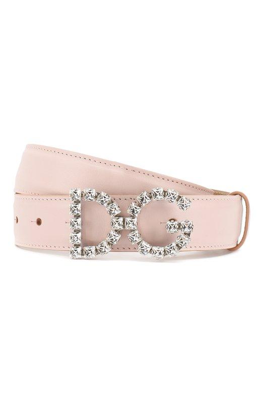 Купить Кожаный ремень с фигурной пряжкой и отделкой кристаллами Dolce & Gabbana, BE1311/AU325, Италия, Светло-розовый, Кожа натуральная: 100%; Кожа: 100%;