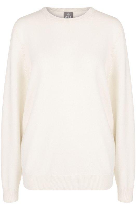 Купить Однотонный кашемировый пуловер с круглым вырезом FTC, 108-2841, Китай, Белый, Кашемир: 100%;