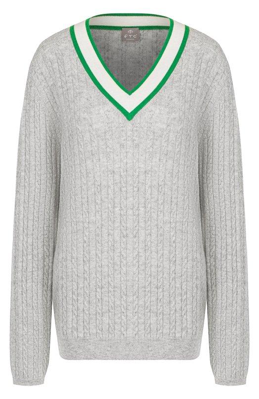 Купить Кашемировый пуловер фактурной вязки с V-образным вырезом FTC, 708-1110, Китай, Светло-серый, Кашемир: 100%;