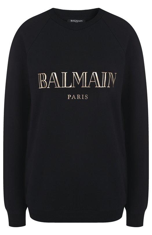 Купить Хлопковый свитшот с логотипом бренда Balmain, 136916/619I, Португалия, Черный, Хлопок: 100%;