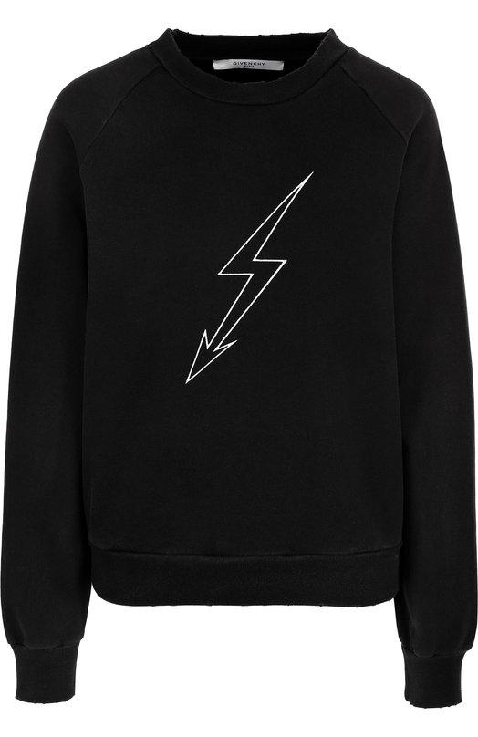 Купить Хлопковый пуловер с круглым вырезом и принтом Givenchy, BW701K3062, Португалия, Черный, Хлопок: 100%;