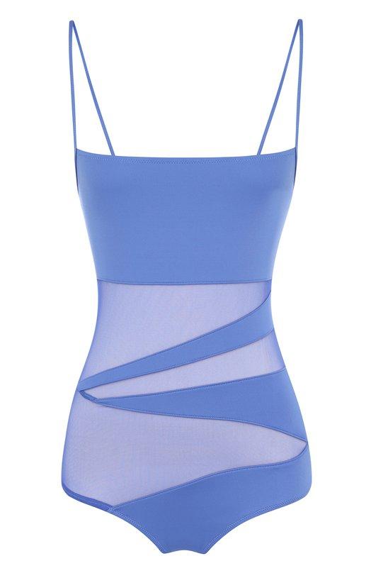 Купить Слитный купальник с полупрозрачными вставками NATAYAKIM, NY-013, Италия, Голубой, Полиамид: 90%; Эластан: 10%;