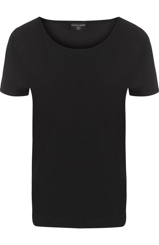 Футболка с круглым вырезом и логотипом бренда NATAYAKIM, NY-035/17, Италия, Черный, Полиамид: 59%; Эластан: 41%;  - купить