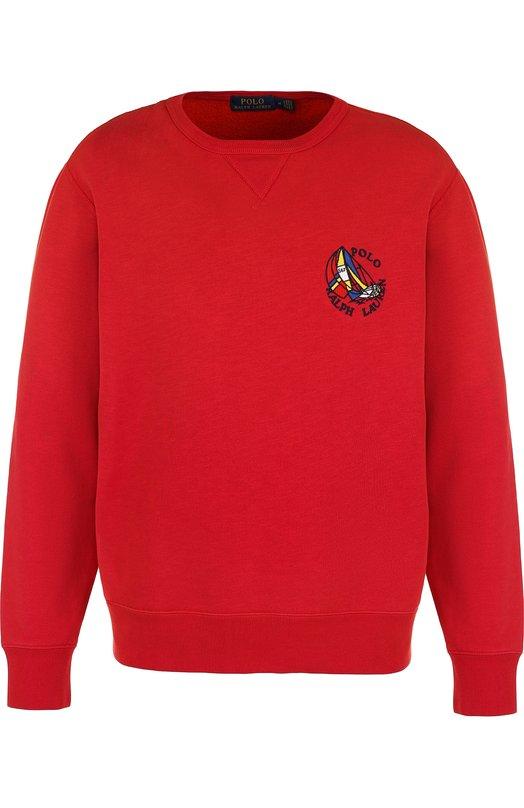 Купить Хлопковый свитшот с аппликацией Polo Ralph Lauren, 710702398, Филиппины, Красный, Хлопок: 87%; Полиэстер: 13%;