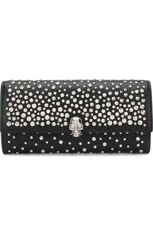 Купить Кожаное портмоне с металлическими заклепками на цепочке Alexander McQueen, 414659/1AC8I, Италия, Черный, Кожа натуральная: 100%;