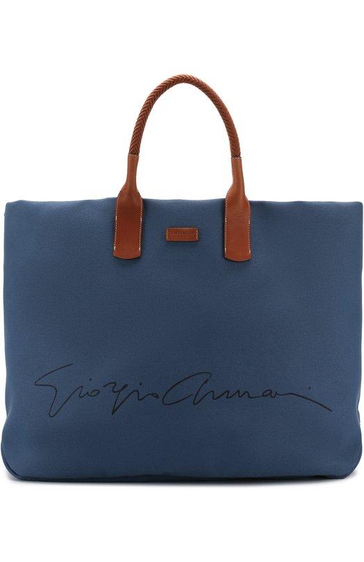 Текстильная дорожная сумка с плечевым ремнем Giorgio Armani