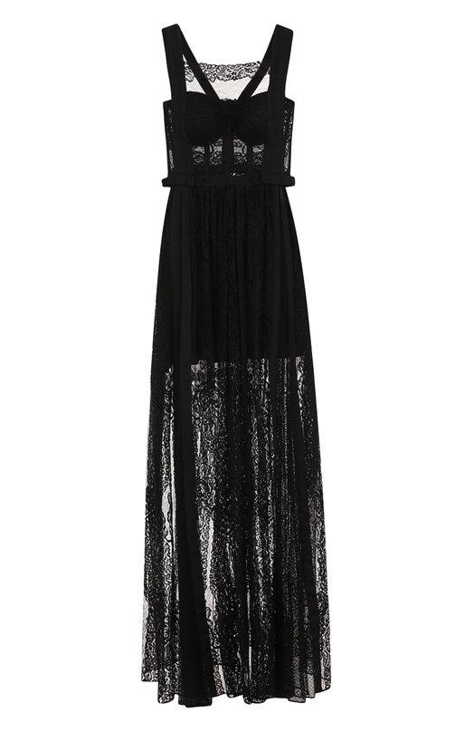 Купить Однотонное кружевное платье-макси Zuhair Murad, DRS18004/LABL001, Ливан, Черный, Шелк: 50%; Полиамид: 50%;