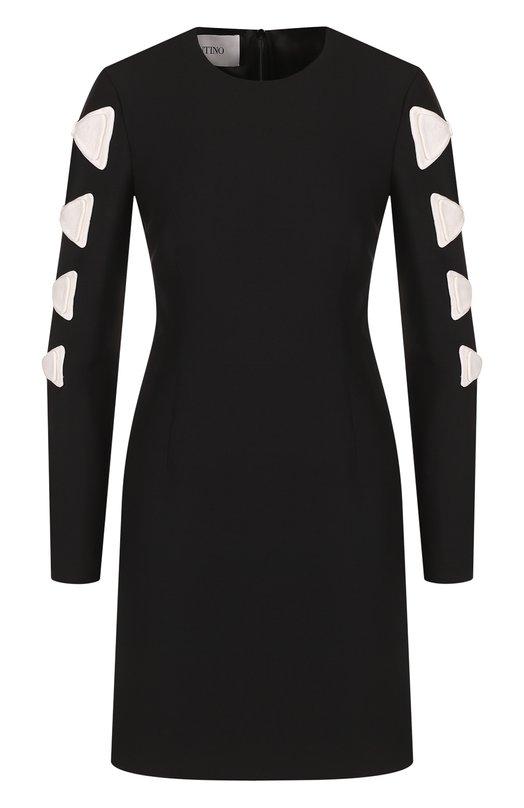 Купить Приталенное мини-платье с контрастной отделкой Valentino, QB2VAID81CF, Италия, Черно-белый, Шерсть: 65%; Шелк: 35%;