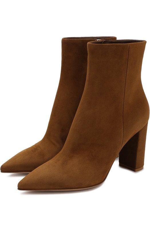 Купить Замшевые ботильоны на устойчивом каблуке Gianvito Rossi, G70399.85RIC.CASTEXA, Италия, Светло-коричневый, Подошва-кожа: 100%; Подкладка-кожа: 100%; Кожа: 100%;