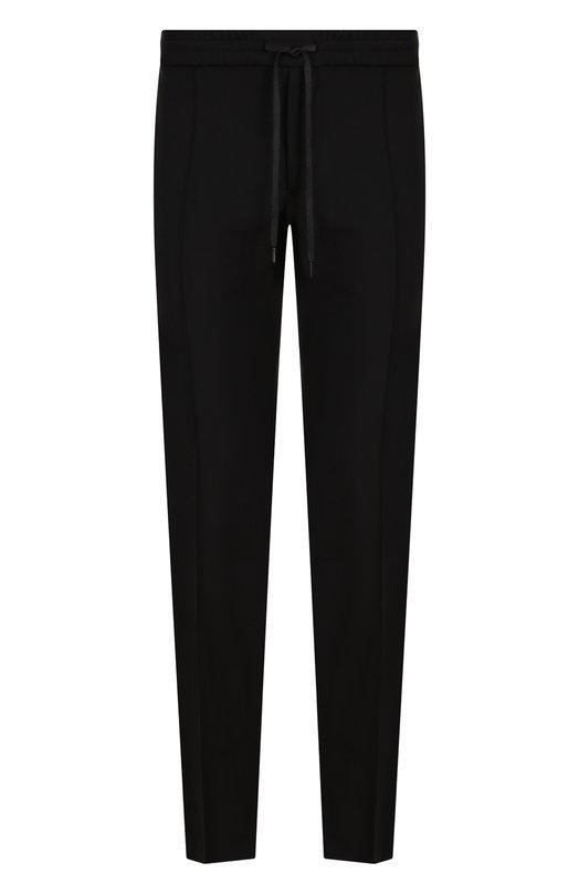 Купить Шерстяные брюки прямого кроя с поясом на кулиске Valentino, QV3RB56625S, Италия, Черный, Шерсть: 84%; Мохер: 16%;