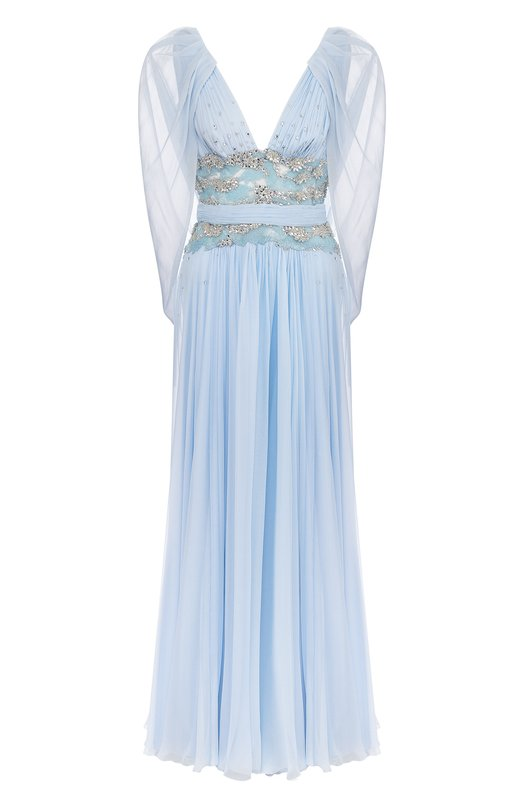 Купить Шелковое платье-макси с V-образным вырезом и декоративной отделкой Zuhair Murad, RDRS18-013-DL-00, Ливан, Голубой, Шелк: 100%;