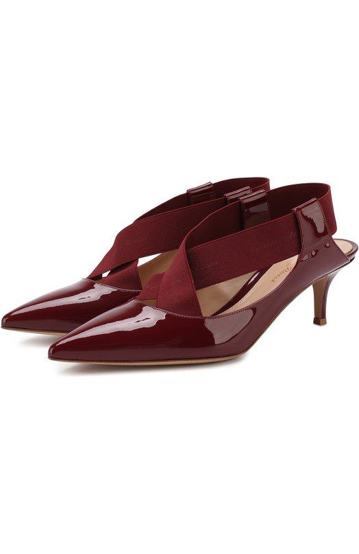 Купить Лаковые туфли с эластичными лентами на каблуке kitten heel Gianvito Rossi, G98070.55RIC.VEISYSY, Италия, Бордовый, Кожа: 80%; Текстиль: 20%; Подкладка-кожа: 100%; Подошва-кожа: 100%;