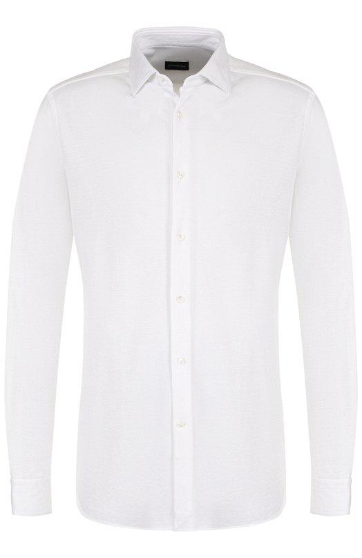 Купить Хлопковая сорочка с воротником кент Ermenegildo Zegna, 301190/9HS0MT, Швейцария, Белый, Хлопок: 100%;