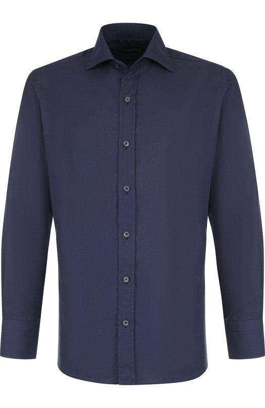 Хлопковая сорочка с воротником кент Tom Ford, 3FT622/94S1AX, Италия, Темно-синий, Хлопок: 100%;  - купить