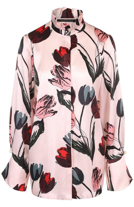 Купить Шелковая блуза с воротником-стойкой и принтом Mother Of Pearl, 3455 C DELLAR, Китай, Светло-розовый, Шелк: 100%;