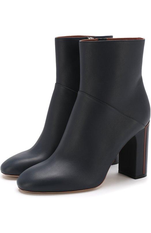 Купить Кожаные ботильоны устойчивом каблуке Loro Piana, FAI0331, Италия, Темно-синий, Кожа натуральная: 100%; Стелька-кожа: 100%; Подошва-кожа: 100%; Подкладка-кожа: 100%; Кожа: 100%;