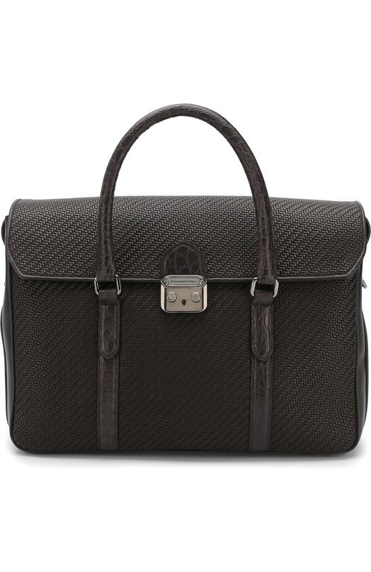 Кожаный портфель с клапаном с отделкой из кожи каймана Ermenegildo Zegna